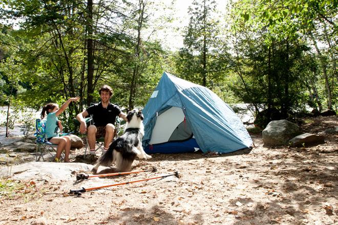 camper avec son chien parc riviere batiscan