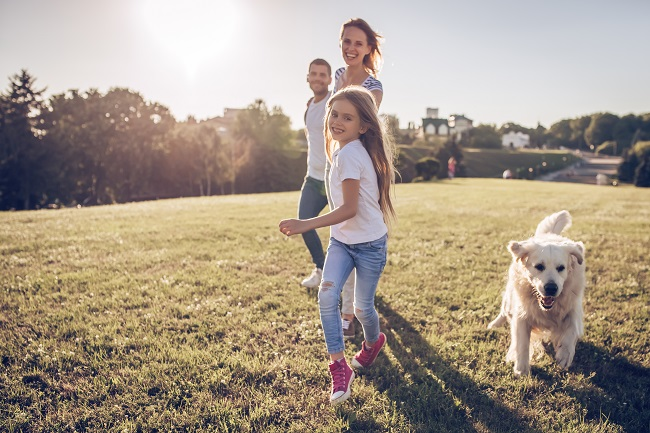 Famille heureuse de marcher dans un parc