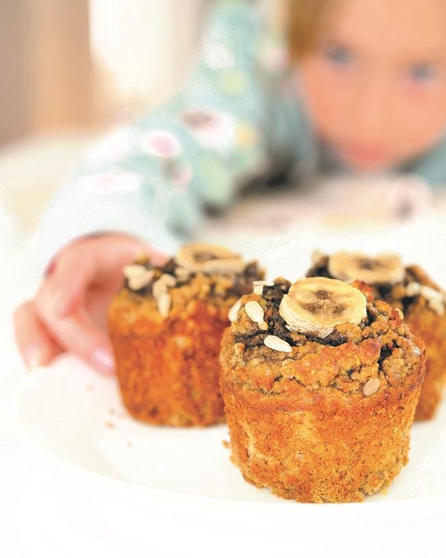 Muffins de nature parfaite (Graines de tournesol et banane)