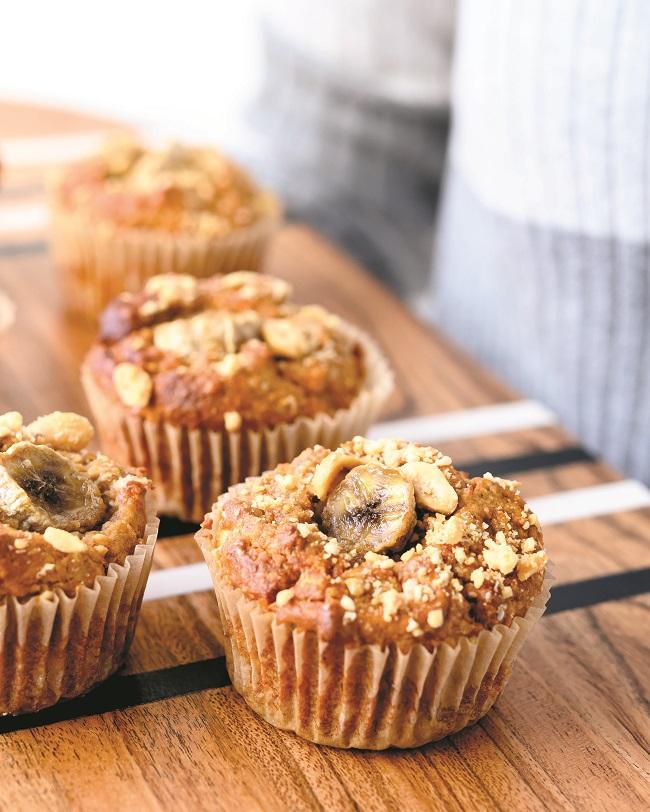 Muffins Réveil-banane... de feu! (Beurre d'arachides et banane)