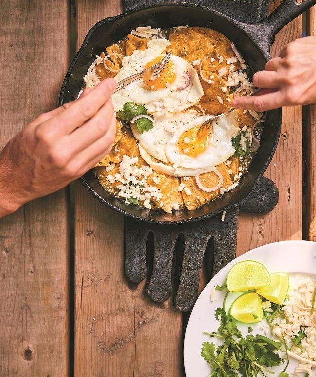 Recette de Chilaquiles Vertes à cuisiner en camping