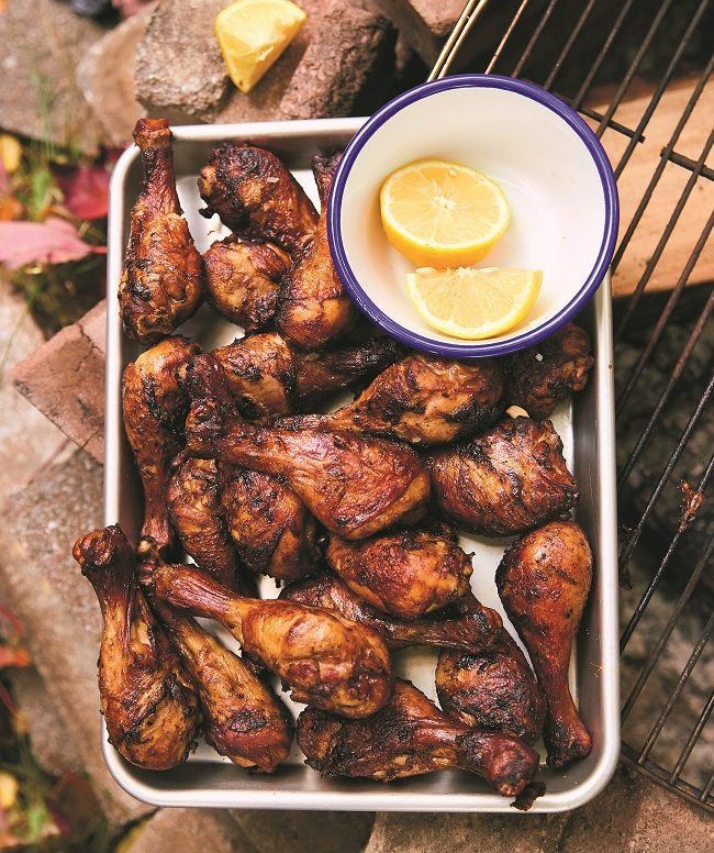 Recette de pilons de poulet soja-citron à-manger-avec-les-doigts à cuisiner en camping